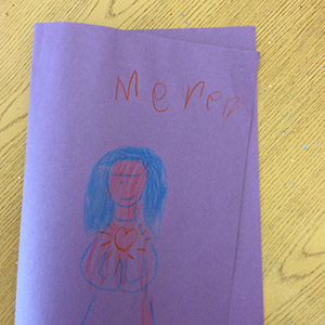 A child drew a picture of Mary during Bible camp. The children all had a devotion to the Blessed Mother and loved to sing Immaculate Mary.