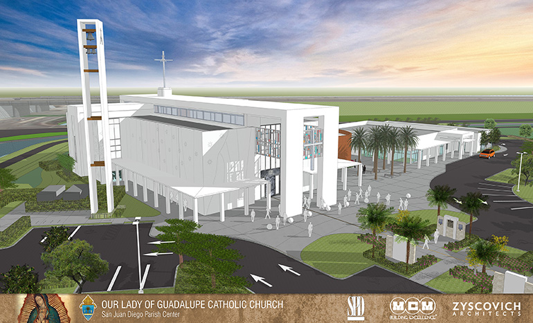 Architect's rendering of Our Lady of Guadalupe Church, with chapel and multipurpose building, which is slated to be dedicated on the feast day of Guadalupe, Dec. 12, 2015.