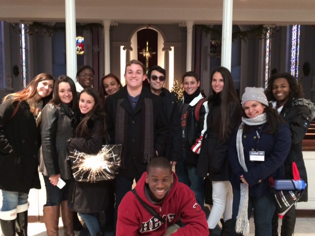 Msgr. Pace High students pose for a photo inside Holy Trinity Catholic Church near Georgetown University in Washington D.C.
