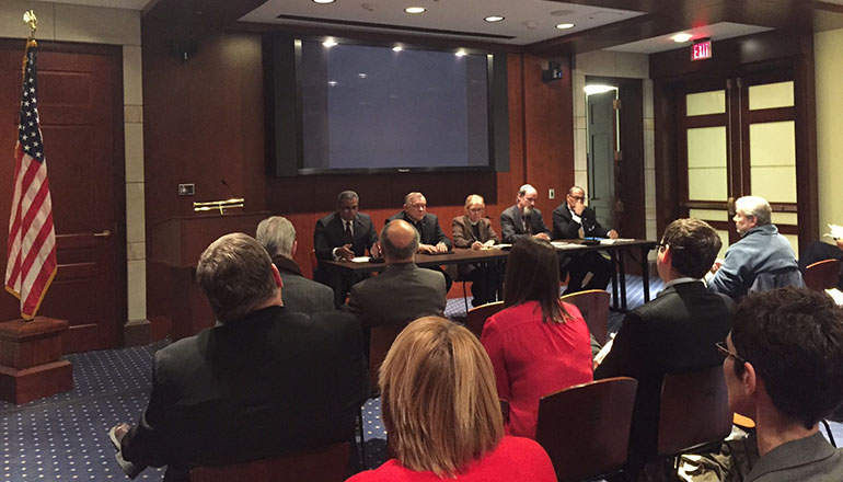 Religious leaders, including Archbishop Thomas Wenski, hold a panel discussion on climate change and religion on Capitol Hill. The panelists are, from left: Aside from Archbishop Wenski, who represented the U.S. Conference of Catholic Bishops, other panelists were: Emilio Marrero (Esperanza); Archbishop Wenski; moderator Rev. Dr. Susan Henry-Crowe (United Methodist Church); Rabbi Fred Dobb (Coalition on the Environment and Jewish Life); and Rev. Dr. Carroll Baltimore (Progressive National Baptist Church).