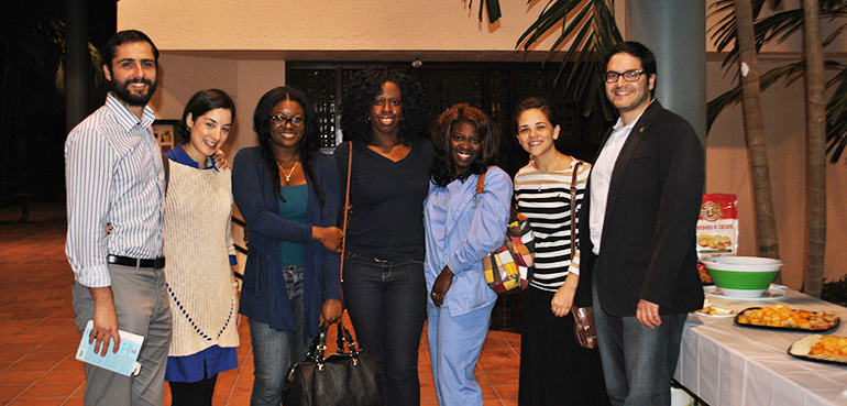 Young adult and youth leaders from Juventutem, Notre Dame D'Haiti, and New Jerusalem Community meet and mingle at the Lenten reflection. From left to right: Josue and Vida Hernandez, Rose Seraphin, Sandy Hyacinthe, Judith Dorlean, Andrea Morales and Aramis L. Perez.