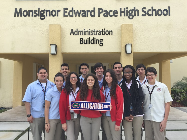 These are the 12 students from Msgr. Edward Pace High School have been accepted into the University of Florida. Pictured here, front row, from left: Courtney Diaz, Elexa Suarez, Juana Diaz, Kirstie Vargas, Suzarah Dorleus, and Matthew Arrojas. Back row, from left: Gabriel Sanchez, Steven Yildirim, Daniel A. Gonazlez, Christian B. Roig, Adam Ruiz, and Eduardo Kuffo.