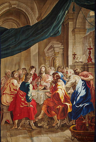 "At least two noteworthy works of sacred art are on loan to the Holy See's pavilion at Milan Expo 2015. One is this tapestry rendering of Peter Paul Ruben's ""The Institution of the Eucharist."