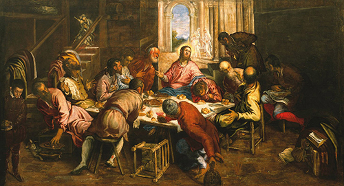 "One of the two noteworthy works of sacred art on exhibit the Vatican pavilion at Milan Expo 2015 is this painting of ""The Last Supper,"" by Renaissance artist Jacopo Robusti (Tintoretto)."