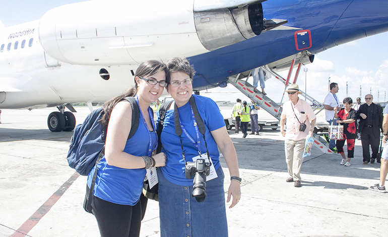 My daughter and I stop for a photo in front of the plane after our arrival in Havana Sept. 18.