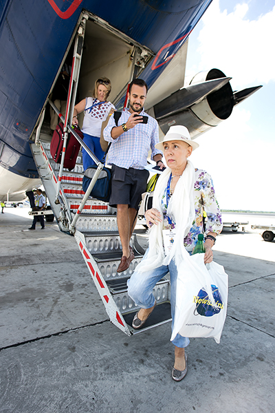 """Marta Mohr and her son, Leonardo """"Felice"""" Gorordo, arrive in Cuba Sept. 18 for the first time since her exile in 1969."""