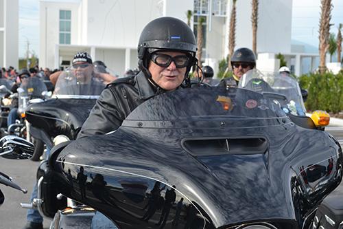 Archbishop Thomas Wenski prepares to set out on the 2016 Archbishop's Motorcycle Ride.