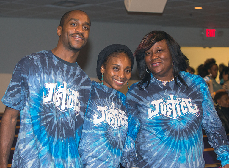 Evan Allen, Terrica Allen and Sharon Henley of St. Peter Missionary Baptist  Church proudly