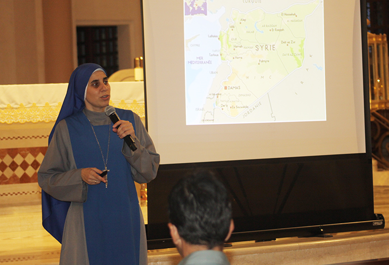 Sister Maria de Guadalupe Rodrigo, an Argentine missionary who has lived in Aleppo, Syria, since 2011, shares her experiences of war and persecution of Christians there during a visit to St. Patrick Church, Miami Beach.