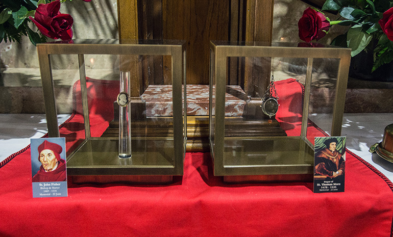 """The relics, a piece of St. Thomas More's jawbone and tooth and St. John Fisher's ring, are on a tour in the U.S. as part of the annual Fortnight for Freedom celebration of religious liberty. """"The Strength of the Saints"""" relics tour will end July 4 in Washington, D.C."""
