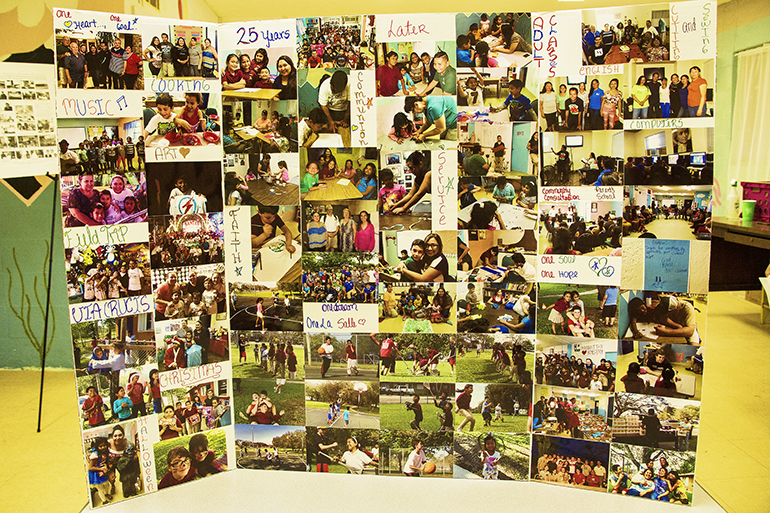 Un collage de fotografías que los estudiantes del Centro La Salle realizaron para conmemorar el 25 Aniversario del centro ubicado en el campamento para trabajadores agrícolas South dade, en Homestead.