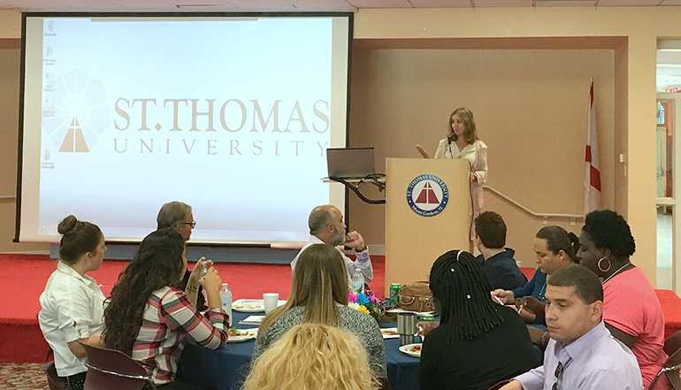 Roza Pati addresses students of the Human Trafficking Academy at St. Thomas University, which included police, judges, attorneys, social service workers, healthcare and child protection workers, and even survivors of human trafficking.