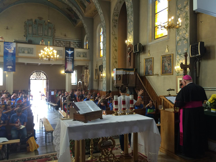 Archbishop Thomas Wenski preaches a third and final catechesis for the English-speaking pilgrims at Mary Help of Christians Church on the outskirts of Krakow, Poland for World Youth Day 2016.