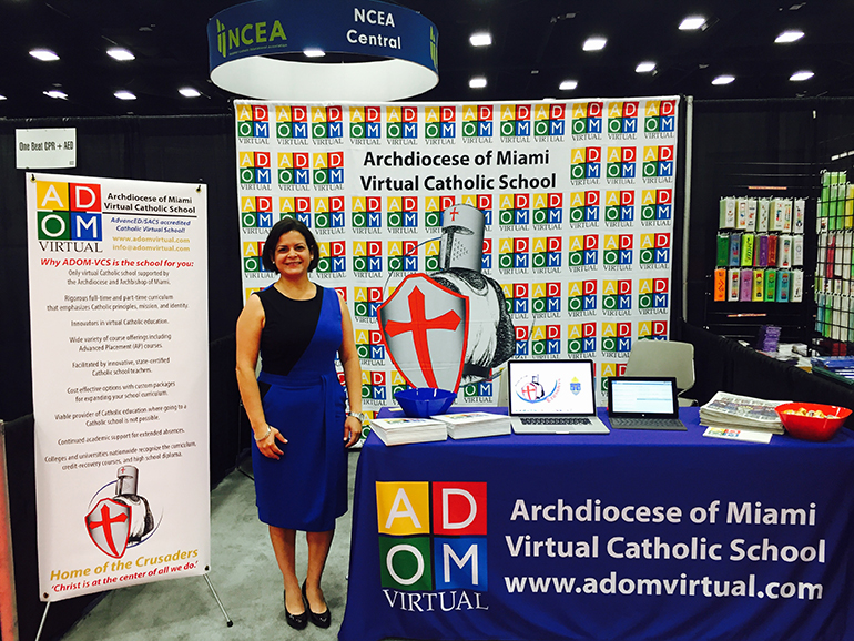 Archdiocese of Miami Virtual Catholic School Principal Rebeca Bautista represents her school at a recent National Catholic Education Association Convention and Expo. ADOM-VCS is pioneering the way as the first Catholic online school in the United States.