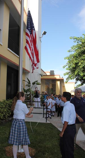 Now flying high over St. Michael the Archangel School is a flag formerly flown over the U.S. Capitol building, a gift from U.S. Congresswoman Ileana Ros-Lehtinen.