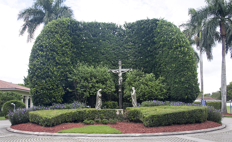 Entrance of Our Lady of Mercy Catholic Cemetery in Doral. The cemetery was consecrated in 1959 and serves South Florida's Catholics.