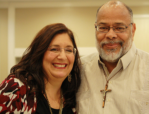 Keynote speaker Donna Gardner, Rachel's Vineyard coordinator for the Diocese of Palm Beach, poses with Project Joseph counselor Joseph King.
