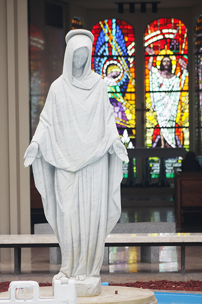 Statue of Our Lady of Mercy in the main chapel of Our Lady of Mercy Cemetery, in Doral.