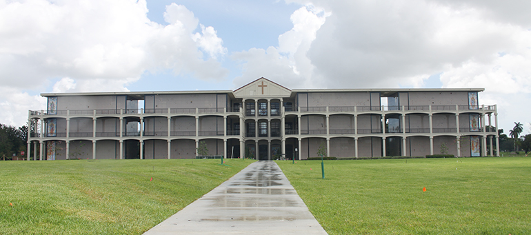 Exterior of the Ascension Mausoleum at Our Lady of Mercy Cemetery in Doral recently opened last year.