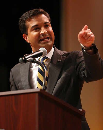 US Representative Carlos Curbelo (R-Fla) responds to questions from moderator, ABC News anchor and correspondent Tom Llamas, during a debate against Democrat challenger Jose Garcia.