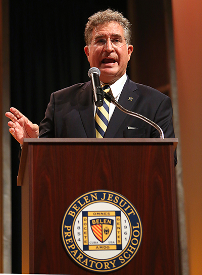Democrat challenger Jose Garcia responds to questions from moderator from ABC News anchor and correspondent, Tom Llamas, during a debate against US Representative Carlos Curbelo (R-Fla) at their alma mater.