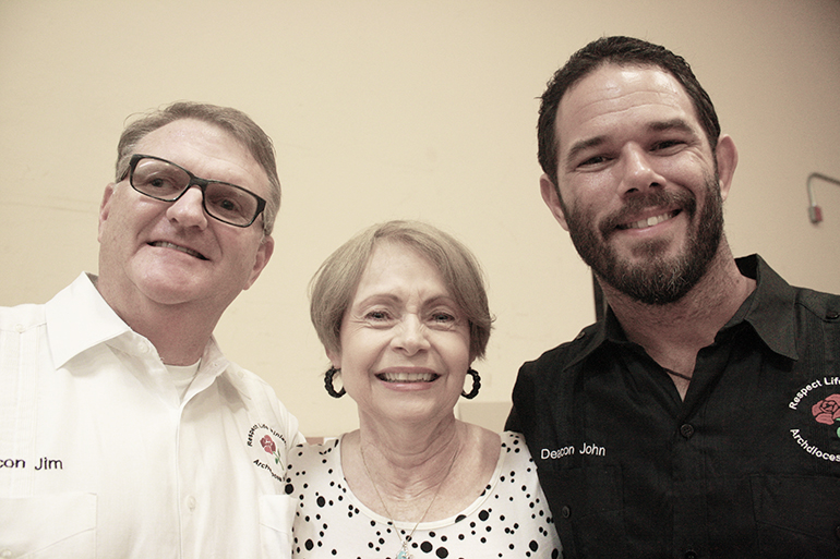 """Pro-life """"Jedis"""" Deacon James Dugard, left, and Deacon John Clarke pose with Respect Life Educational Coordinator Barbara Groeber at a Respect Life Awareness Day in August."""