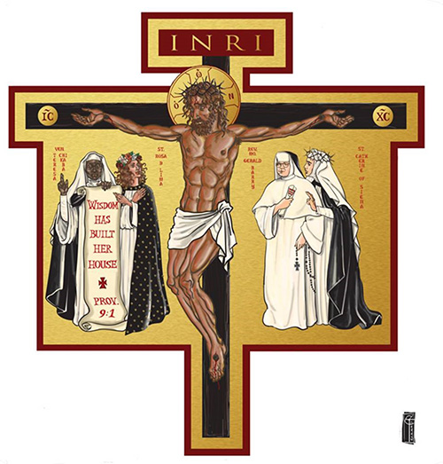 This icon cross, designed by Dominican Father Cristobal Torres, measures 8 feet high by 7.5 feet wide and weighs 200 pounds. It hangs above the altar of the newly refurbished Cor Jesu Chapel at Barry University.