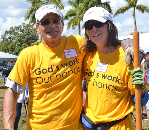 Vinnie and Barbara Tria, a Catholic-Lutheran couple, pause during a labyrinth groundbreaking at MorningStar Renewal Center.