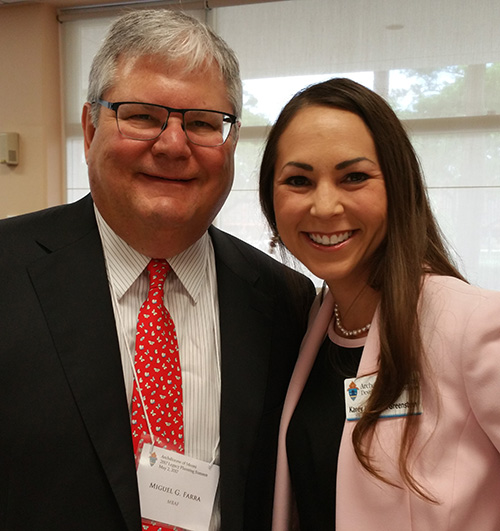 Karey Bosack Greenstein, right, senior director of Planned Giving for the archdiocese, poses with Miguel G. Farra, chairman of the Tax and Accounting Department at MBAF Financial Advisors. MBAF sponsored the first Legacy Planning Summit hosted by the Archdiocese of Miami's Development Office.