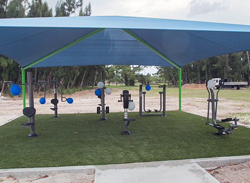 The fitness area at the new Sister Lucia Sport and Fitness Park at the Marian Center has six exercise machines: a bench press, hand cycle, leg press, chest press, cardio walker and elliptical.