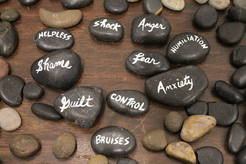 Leave no stone unturned: A tangible representation of the stones that victims of human trafficking use during therapy sessions with Susan Buzzi, a victim advocate and educator.