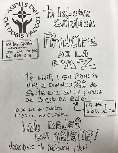 Un valioso recuerdo para la historia: la invitación, escrita a puño y letra, a la primera Misa de la iglesia Prince of Peace, el 20 de septiembre de 1987.