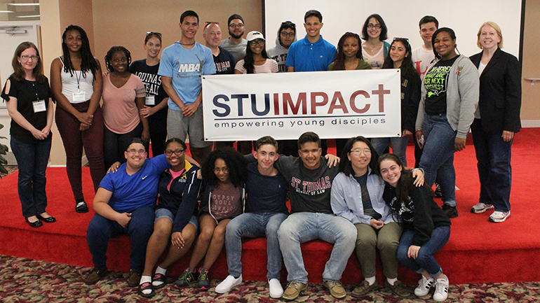 STU Impact students, counselors, and instructors take a group photo. It is the second year that the theology camp brings high school students to a one week intensive experience in Catholic theological education.