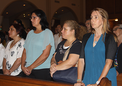 Representatives of pro-labor organizations Women Working Together USA, the Miami Workers Center, and United We Dream took part in the Mass celebrated by Archbishop Thomas Wenski in honor of domestic workers. From left: Rosana Araujo, Viviana Avalo, Mery Ponce and María Asunción Bilbao.