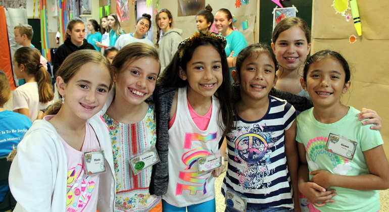 Children at St. Theresa School's Vacation Bible Camp include, from left, Nicole Schneider, Leandra Esteves, Angelica Santeliz, Layla Chin-See, Isabella Crespo and Grace Chin-See.