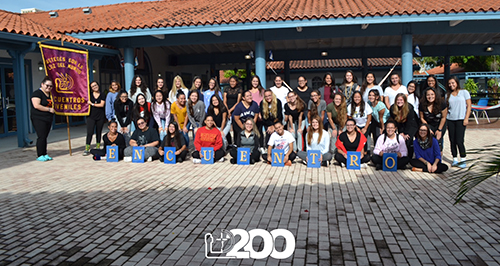 The young women of Encuentros Juveniles 200 pose for a group picture.