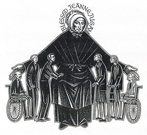 Drawing of St. Jeanne Jugan as proctector of the elderly, by Gerard Rooney. Rooney was an illustrator for The Pilot, the newspaper of the Archdiocese of Boston, and a resident of Jeanne Jugan Residence in Somerville, Mass.