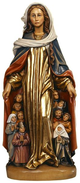 This image of the Virgin Mary sheltering people under her mantle is known as the Schutzmantelmadonna (sheltering cloak madonna) in Germany. In English and Spanish she is better known as Our Lady of Mercy / La Virgen de la Merced.