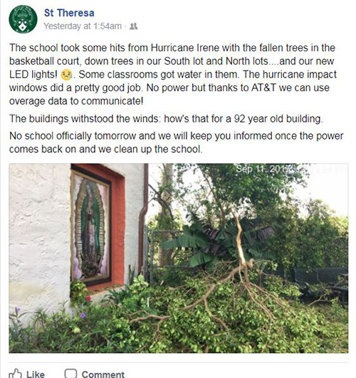 St. Theresa School in Coral Gables was one of many archdiocesan schools and parishes that communicated with parishioners and parents via social media.