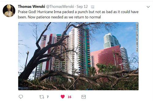 On Sept. 12, Archbishop Thomas Wenski tweeted