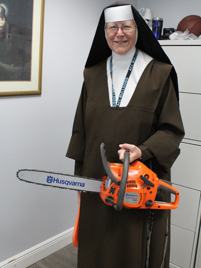 After footage of Sister Margaret Ann cutting tree branches, post Hurricane Irma, went media viral, she has received a new chainsaw, one that was donated as a gift from Canada. Another chainsaw gift is on its way from Arizona.