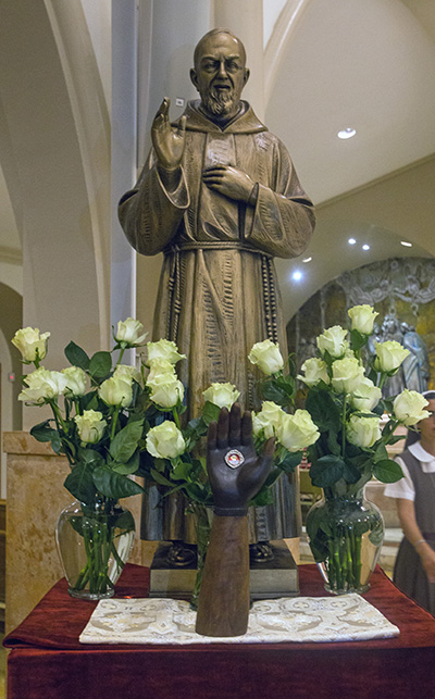 This newly-donated statue of St. Padre Pio will occupy a permanent place on the south side of the cathedral vestibule.