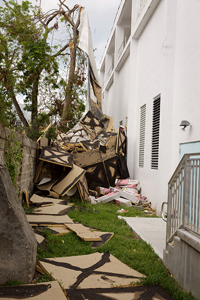 The auditorium at the Basilica School of St. Mary Star of the Sea in Key West suffered severe roofing damage as a result of Hurricane Irma. The storm caused other damage to the property, including to the paint of a new building that is under construction at the school campus.