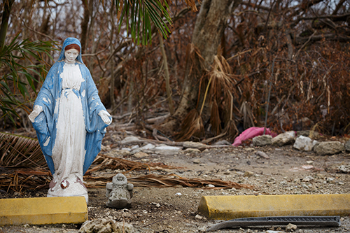 A statue of Our Lady stands among the debris at the Miami archdiocesan church most devastated by Hurricane Irma, St. Peter the Fisherman in Big Pine Key. The church has been deemed unusable and is expected to be rebuilt.