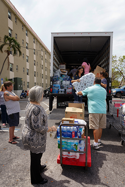 Volunteers from throughout the Archdiocese of Miami deliver a caravan of emergency supplies Sept. 26 to locations throughout the Florida Keys as that region recovers from Hurricane Irma. The donated items had been collected at a dozen Catholic schools and parishes in Miami following the storm, and were left at hard-hit sites and agencies from Key Largo to Key West.