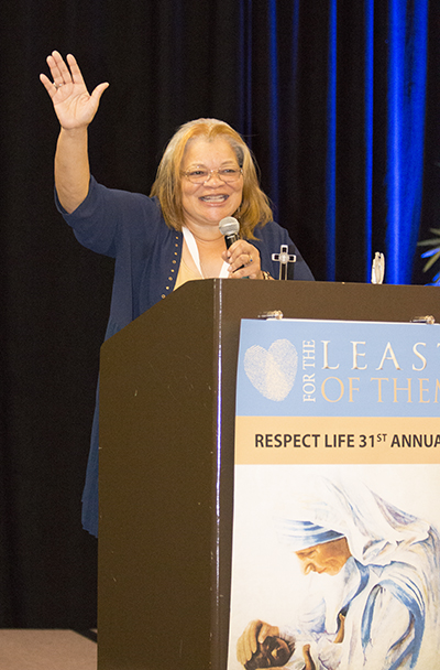 Alveda King, niece of civil rights icon Martin Luther King, Jr., speaks of the connection between the civil rights movement of the 1960s and today's pro-life movement, during her talk at the 31st annual Respect Life State Conference,