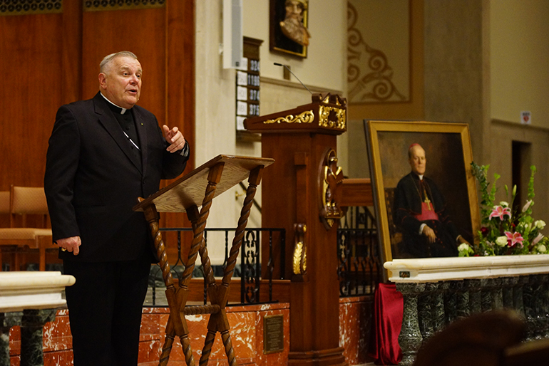 Archbishop Thomas Wenski speaks about Archbishop Joseph P. Hurley of St. Augustine during a talk at the cathedral basilica there Oct. 31, the 50th anniversary of his death. The archbishop later presided at a Mass with all the bishops of Florida, where Bishop John Noonan of Orlando preached the homily.