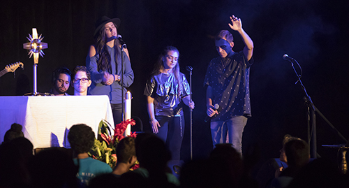 Christian music group EPIC the Band performs during the exposition of the Blessed Sacrament at the 2017 Mercy Night.