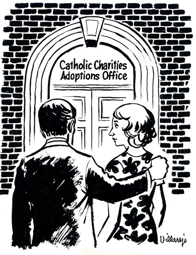 This illustration on file from a past edition of the Florida Catholic shows that adoption was always among the services provided by Catholic Charities.