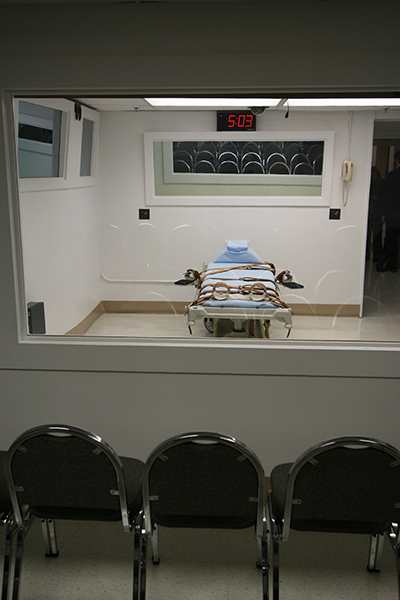 View from the witnesses' side of the execution chamber in Florida's prison in Starke.